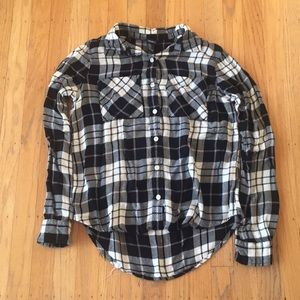 Forever 21 black white flannel shirt sz Small cute